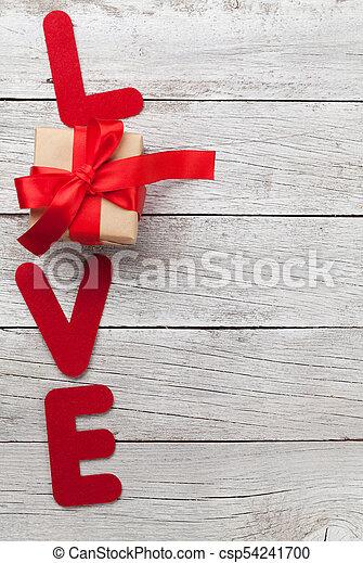 wort, geschenk, valentines, gruß, liebe, tag, karte - csp54241700