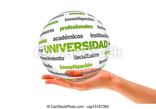 wort, kugelförmig, universität, spanish), (in, 3d - csp15187384