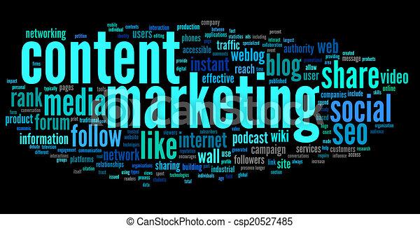 wort, marketing, zufriedene , etikett, conept, wolke - csp20527485