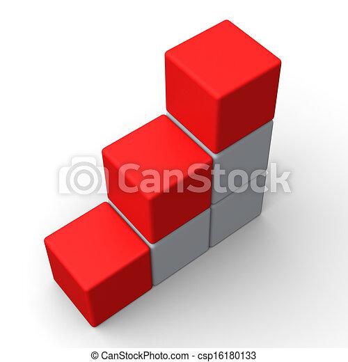 Drei leere Schritte zeigen Platz für 3 Buchstaben - csp16180133