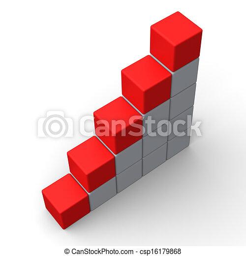 Fünf leere Schritte zeigen Platz für 5 Buchstaben - csp16179868