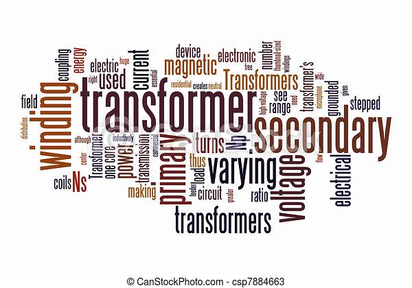 Wort, transformator, elektrisch, wolkenhimmel. Transformator, wort ...