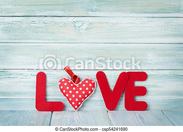 wort, valentines, gruß, liebe, tag, karte - csp54241690