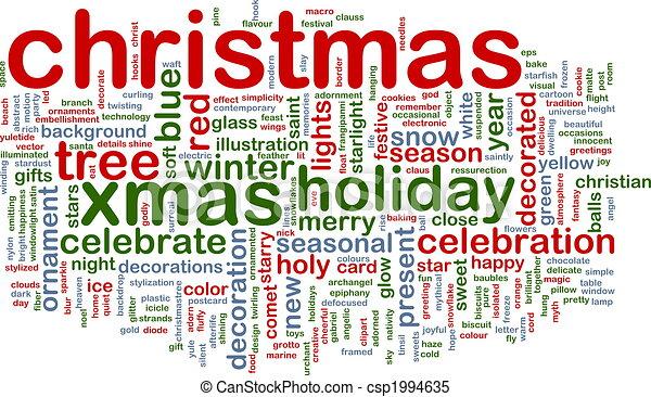 Wort, weihnachten, wolke. Begriff, wort, abbildung, weihnachten ...