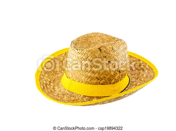 Woven hat isolated on white background - csp19894322