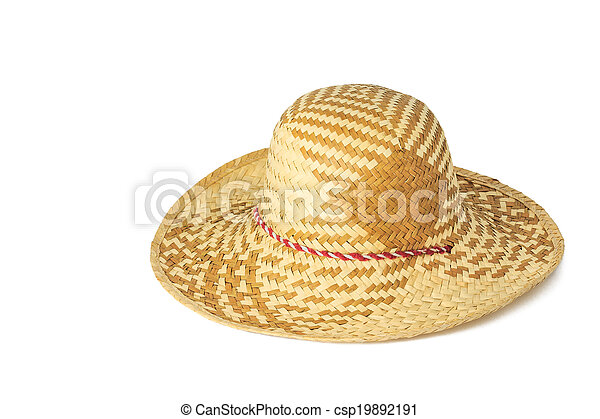 Woven hat isolated on white background - csp19892191