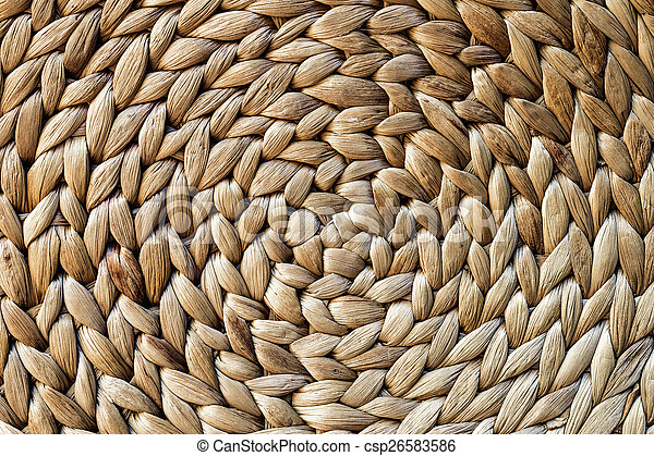 Woven mat texture made from Dry Water hyacinth - csp26583586