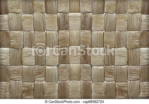 woven mat texture made from dry water hyacinth - csp68082724