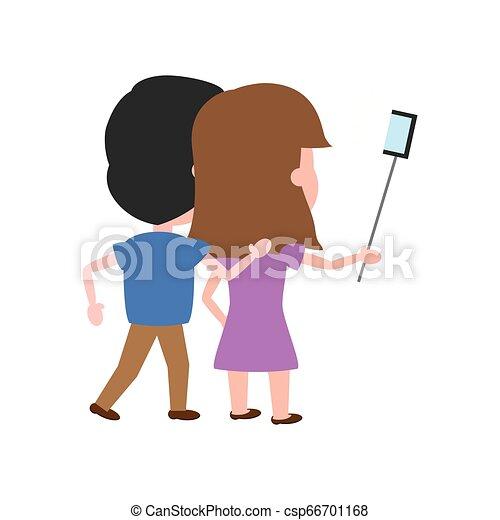 wpływy, prospekt, selfie, para, wstecz - csp66701168