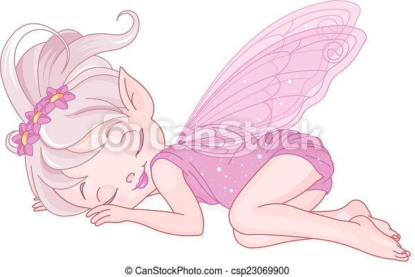 wróżka, ilustracja, różowy, sprytny - csp23069900