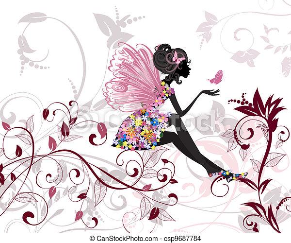 wróżka, kwiat, motyle - csp9687784