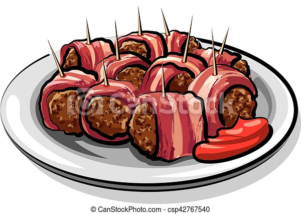 illustration of wrapped bacon meatballs on plate eps vector search rh canstockphoto com meatball clipart black and white meatball hoagie clipart