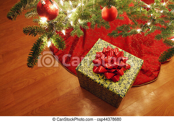 Christmas Presents Under Tree.Wrapped Present Under A Christmas Tree