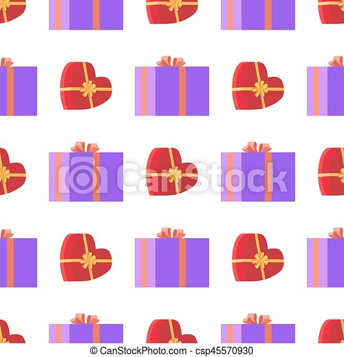 Wrapping Paper with Red and Violet Gift Boxes - csp45570930