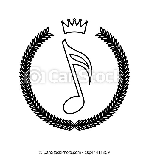 wreath frame with music note hipster style vector - Wreath Frame