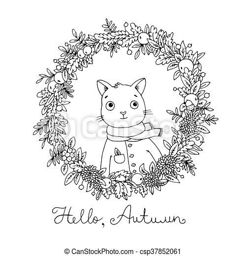 Wreath of autumn leaves. cute cartoon cat. - csp37852061