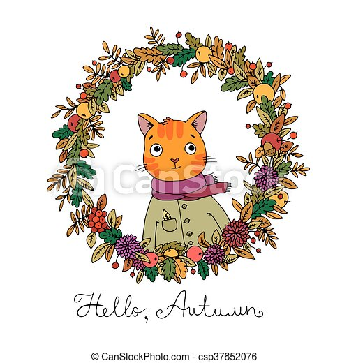 Wreath of autumn leaves. cute cartoon cat. - csp37852076