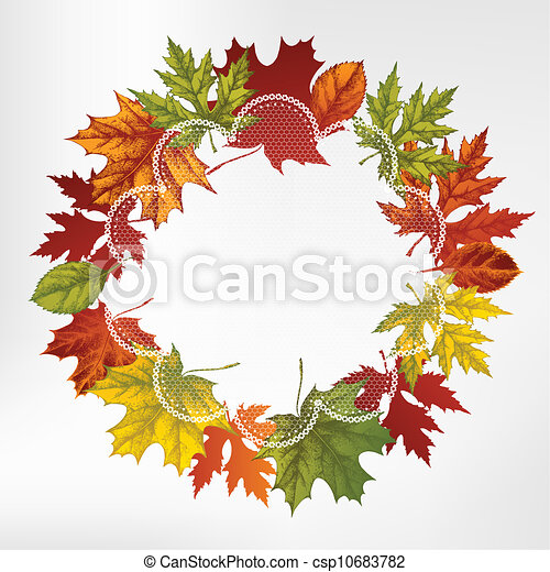 Wreath of autumn leaves, hand-drawi - csp10683782