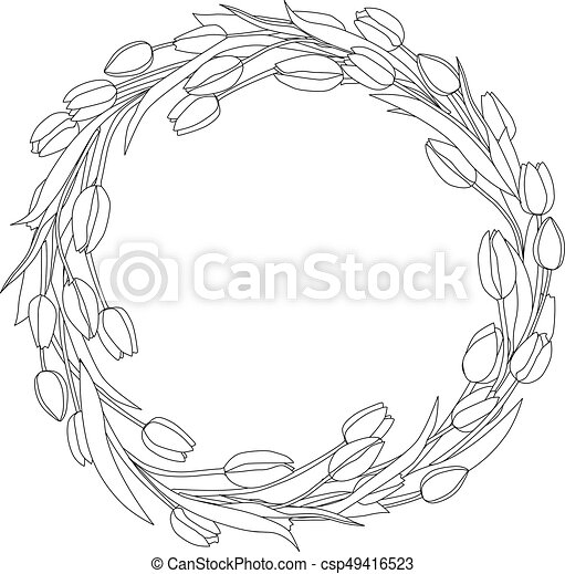 Wreath of tulips spring coloring page