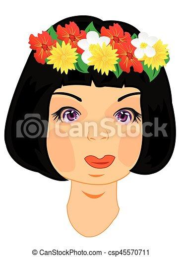 Wreath on head of the girl - csp45570711