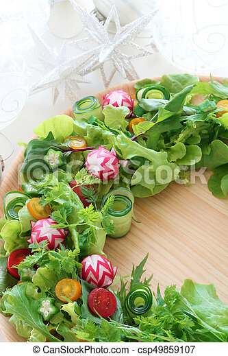 Wreath Salad For Christmas And New Year On Christmas Decoration