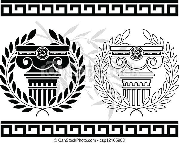 Columnas iónicas con coronas. Stencil - csp12165903