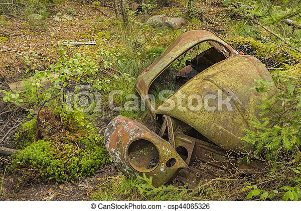 Wrecked beetle car in forest - csp44065326