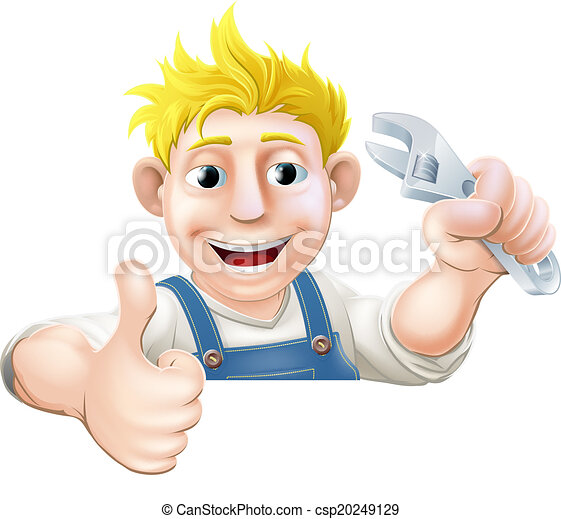 Wrench man over banner thumbs up - csp20249129