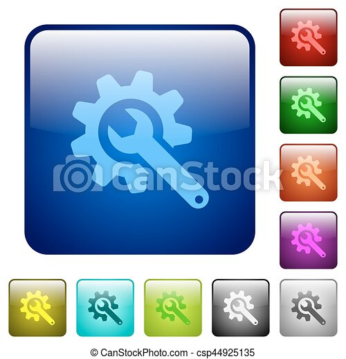 Wrench with cogwheel color square buttons - csp44925135
