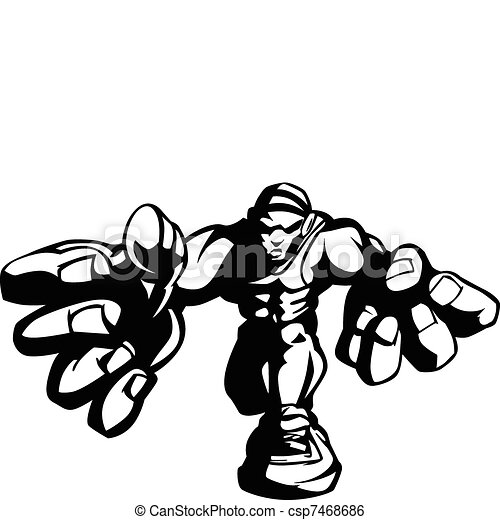 Wrestler Cartoon Vector Image - csp7468686