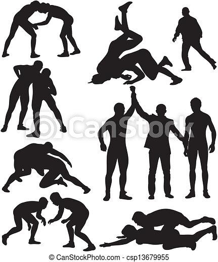 wrestling silhouettes - csp13679955