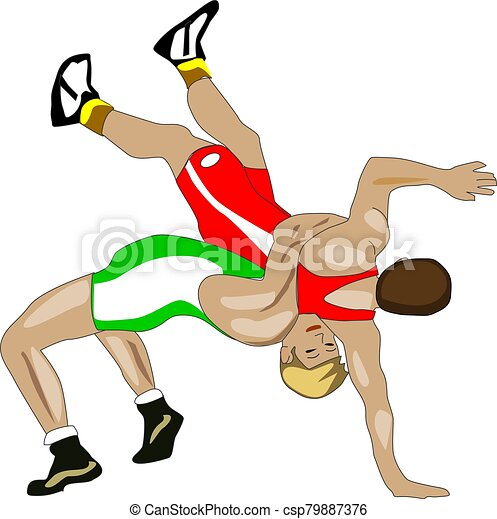 Wrestling Sport With Two Athletes In Color Illustration