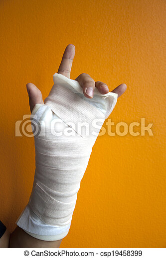 Wrist Injury Isolated On Orange Background Wrist Injury With