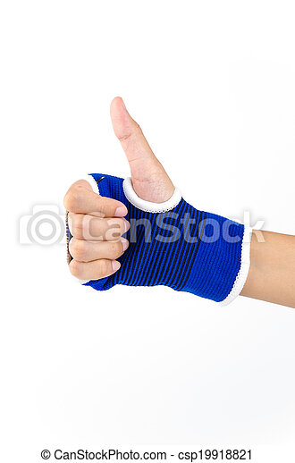 Wrist splint hand isolated white background - csp19918821