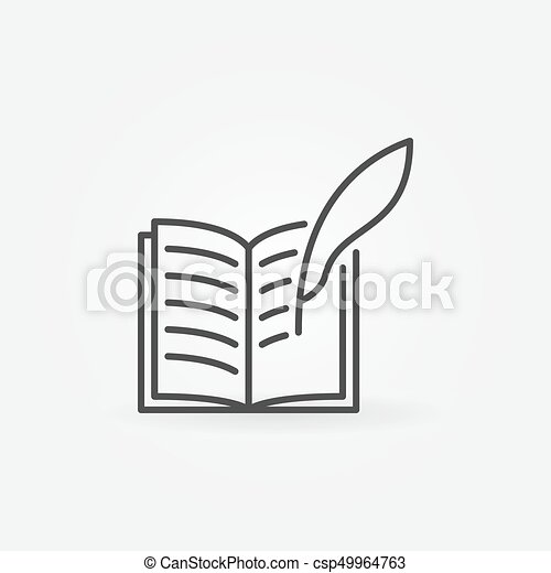 Write A Book Icon Vector Book With A Feather Quill Symbol In Thin