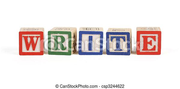 Write - Alphabet blocks isolated - csp3244622