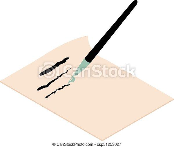 Write brush icon, isometric 3d style - csp51253027