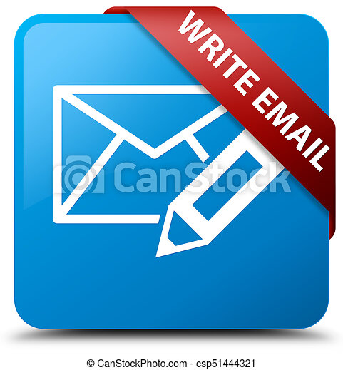 Write email cyan blue square button red ribbon in corner - csp51444321