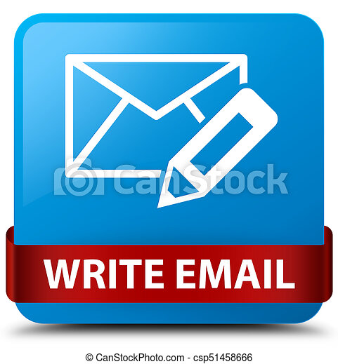 Write email cyan blue square button red ribbon in middle - csp51458666