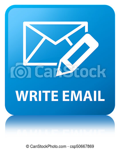 Write email cyan blue square button - csp50667869