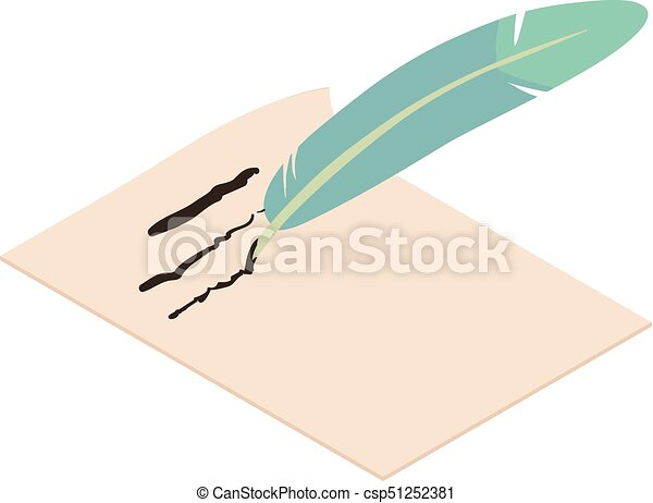 Write feather icon, isometric 3d style - csp51252381
