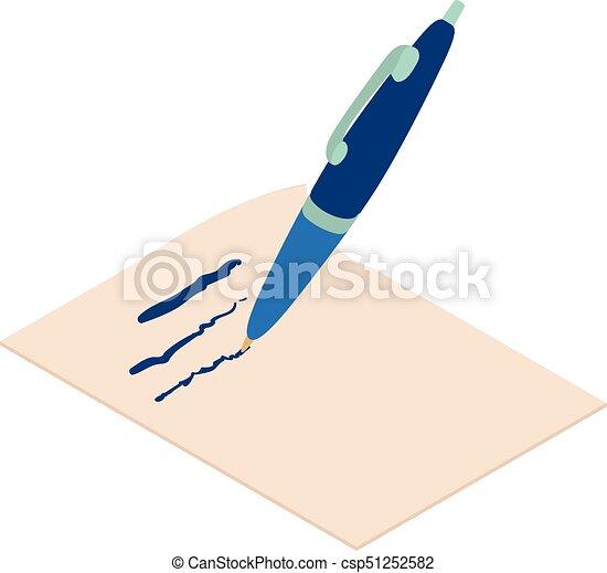 Write pen icon, isometric 3d style - csp51252582