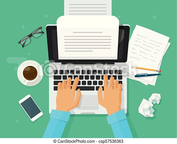 Writer writing on computer paper sheet vector illustration, flat cartoon person editor write electronic book text top view, laptop with writing letter or journal, journalist author working clipart - csp57536363