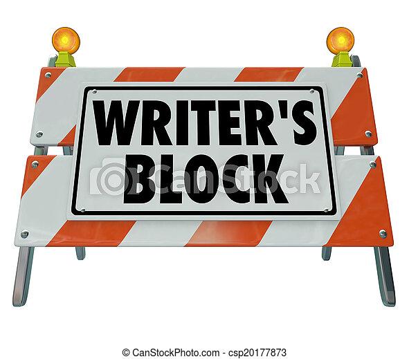 Writer's Block Words Road Construction Barrier Barricade - csp20177873