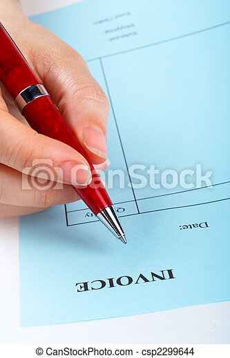 Writing Blank Invoice With Pen On White Background