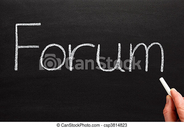 Writing forum with white chalk on a blackboard. - csp3814823