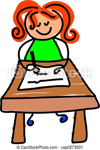 writing kid little girl sitting at a desk learning to write rh canstockphoto com boy and girl writing clipart