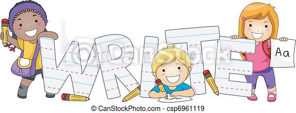Writing Kids - csp6961119