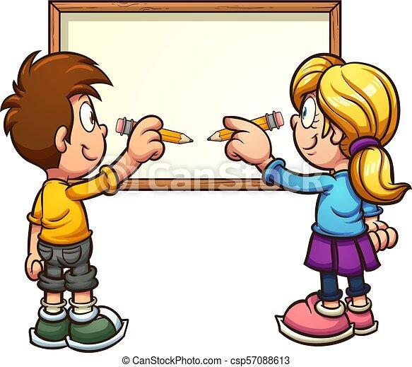 Writing Kids Cartoon Kids Writing On A Blank Board Vector Clip Art
