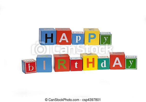 writing lesson happy birthday - csp4397801